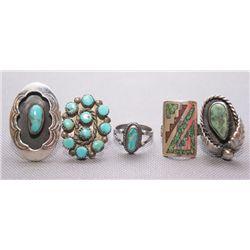 5 Navajo silver rings