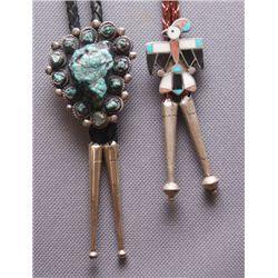 2 Zuni/Navajo silver Bolos
