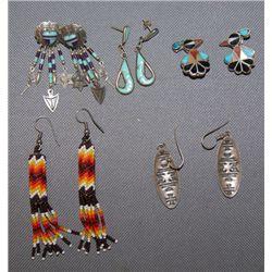 5 pair Zuni/Navajo earrings