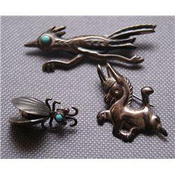 3 Navajo/Mexican silver pin