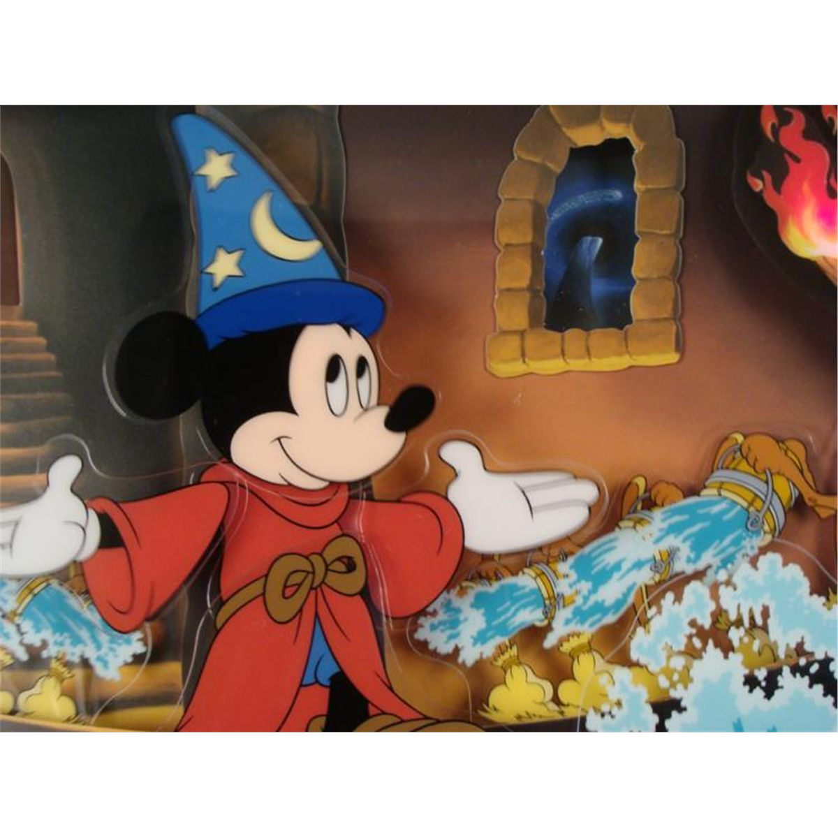 MICKEY MOUSE SORCERER AUTHENTIC DISNEY CEL MAGIC DOUBLE MATTED  ANIMATION ART