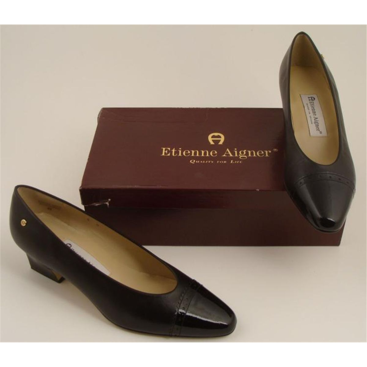 355582cb4b Image 1   Etienne Aigner Black Leather Pump Ladies Shoes Spain 8M ...