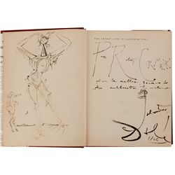 The Secret Life of Salvador Dali presentation copy inscribed, hand-drawn portrait by Salvador Dali