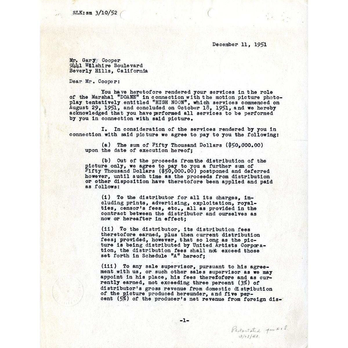 Cheap Sale Stanley Kramer Signed Letter Movies Entertainment Memorabilia