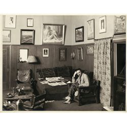 Vintage oversize portrait of Bela Lugosi in his Hollywood study, ca. 1930