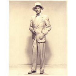 Vintage oversize portrait of Bela Lugosi full figure in white linen suit, ca. 1930