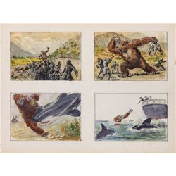 Willis O'Brien four-panel concept art for Baboon: A Tale about a Yeti