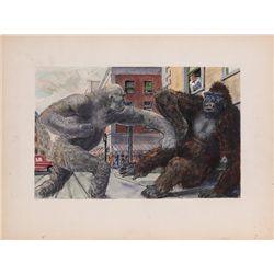 Willis O'Brien concept art of monsters fighting for King Kong vs. Frankenstein