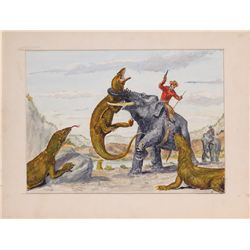 Willis O'Brien concept art for The Elephant Rustlers