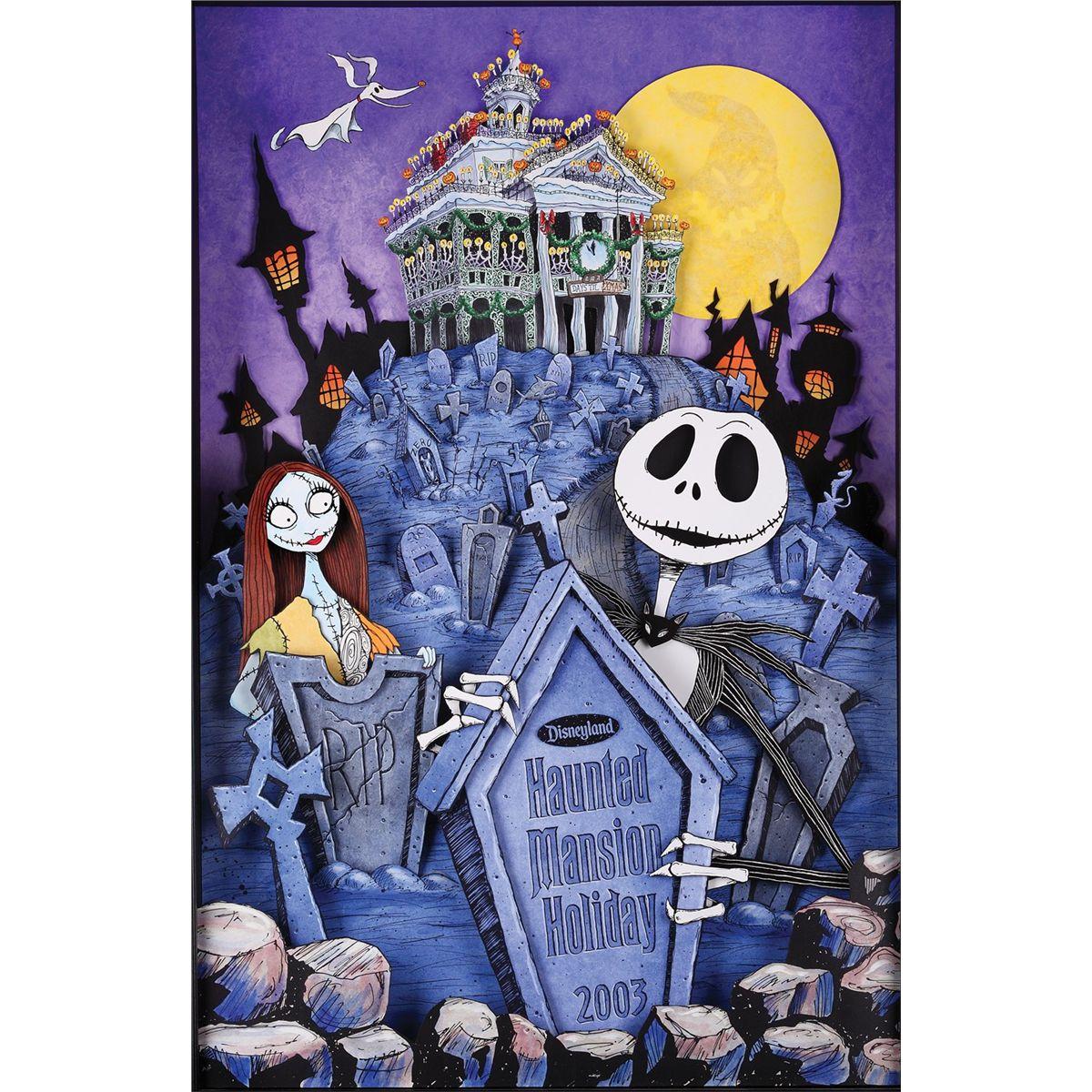 Nightmare Before Christmas Illustration.The Nightmare Before Christmas Disneyland Haunted Mansion Artwork And Shadow Box Display