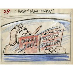 Popeye in Hot Air Aces collection of 14 original hand-drawn color storyboards
