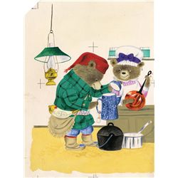 Original Richard Scarry illustration artwork for Pierre Bear