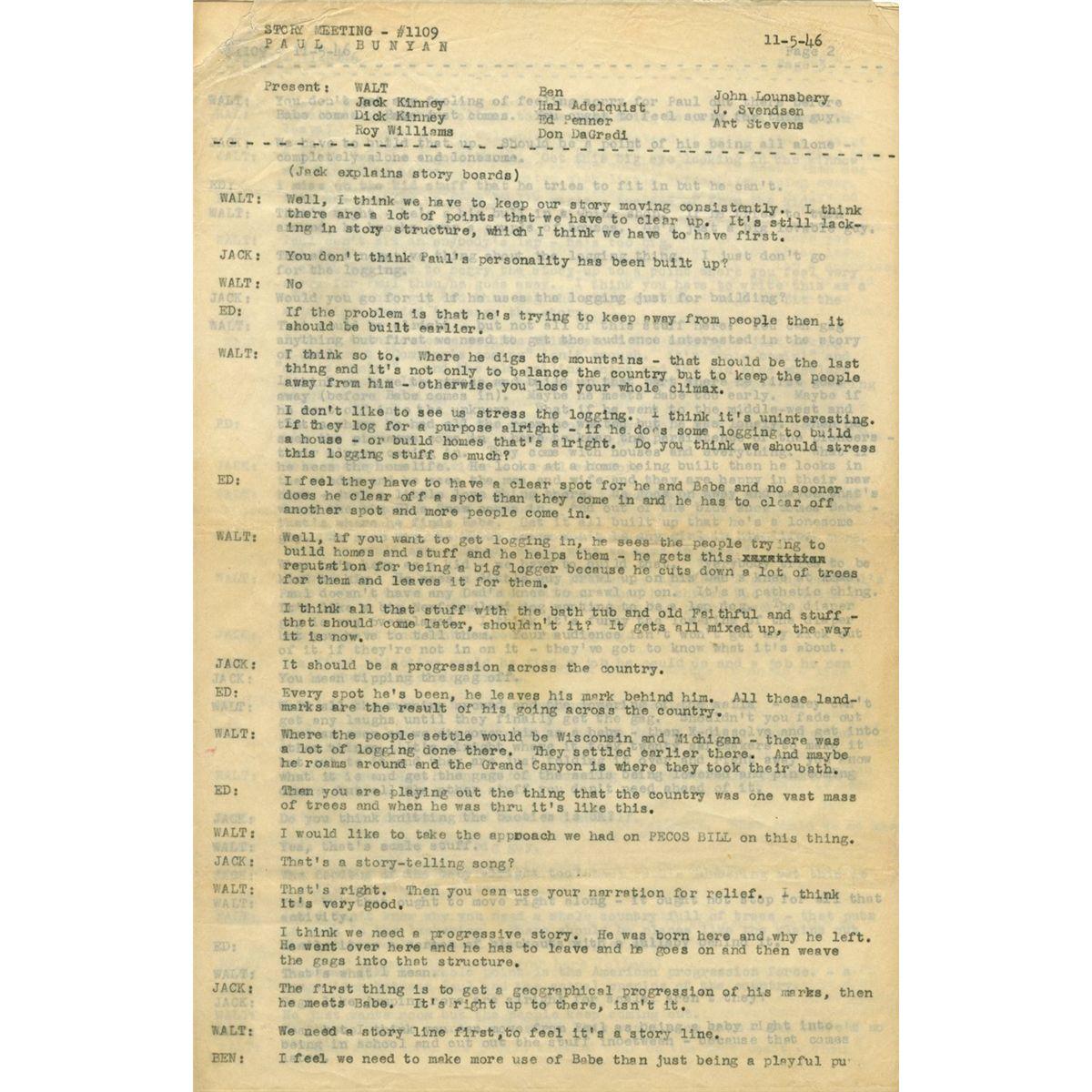Walt Disney script and three Paul Bunyan drawings