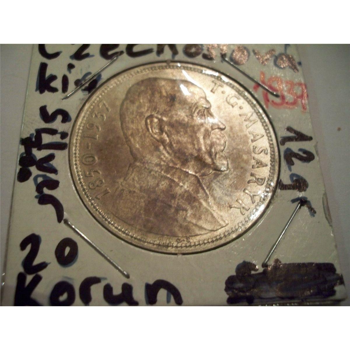 Czechoslovakia 20 Korun 1937 Choice Uncirc Silver Coin 70