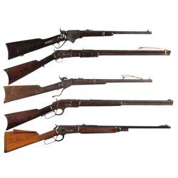 Five Long Guns -A) Very Rare Belgian Spencer Carbine