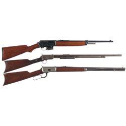 Three Winchester Rifles -A) Winchester Model 1907 Semi-Automatic Rifle