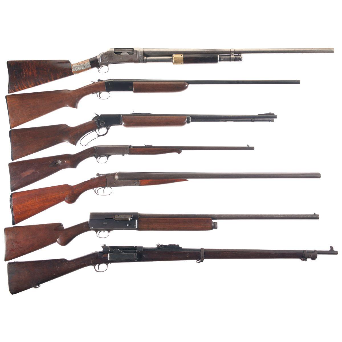 Seven Long Guns -A) Winchester Model 1897 Slide Action Trap Shotgun