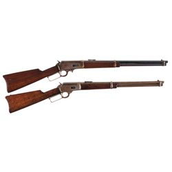 Two Marlin Lever Action Carbines -A) Marlin Model 1893 Lever Action Saddle Ring Carbine