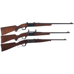 Three Savage Model 99 Lever Action Rifles -A) Savage Model 99-R Heavy Stocked Lever Action Rifle