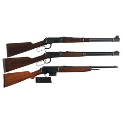 Two Winchester Lever Action and One Semi-Automatic Long Guns -A) Winchester Model 94 Lever Action Ca