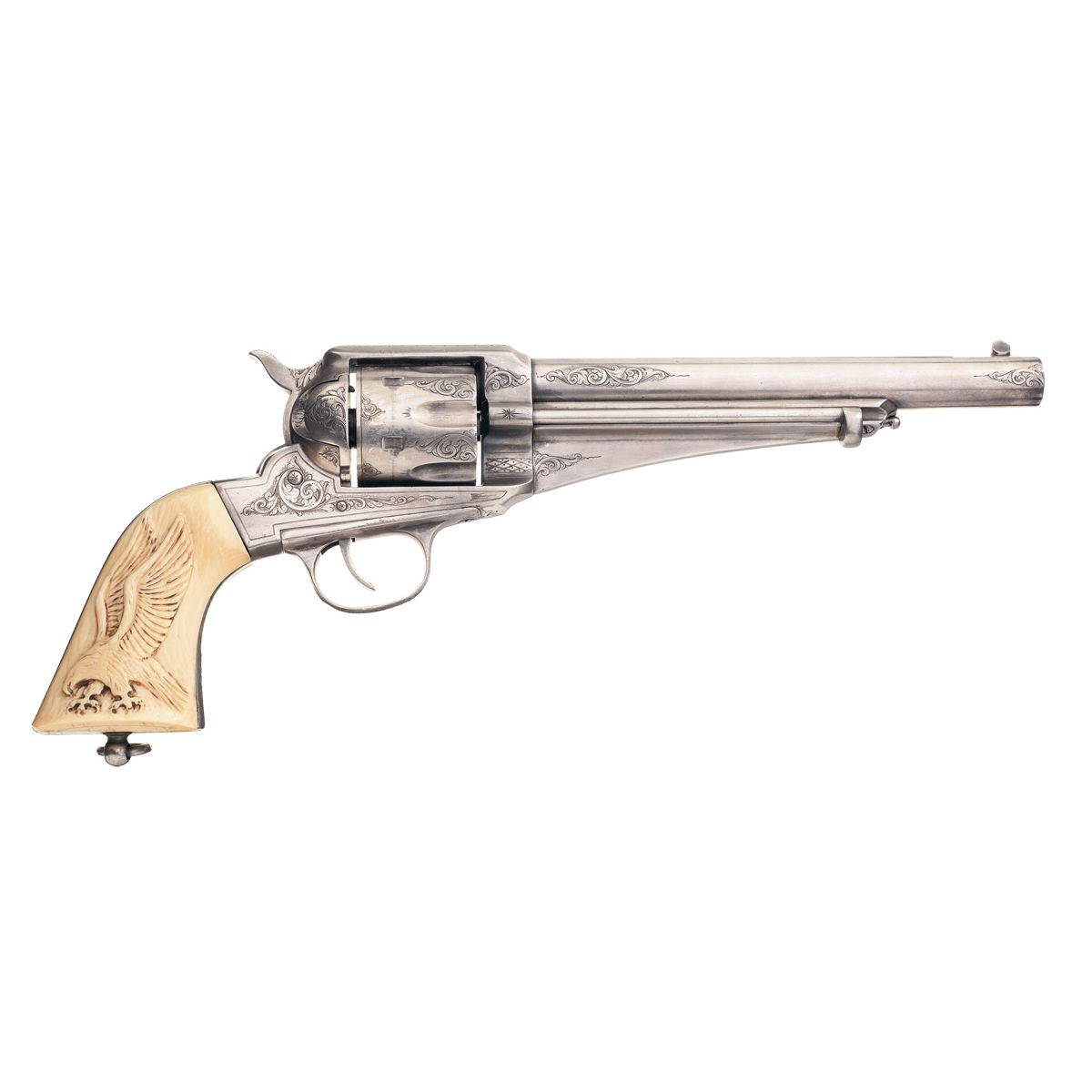 Custom Engraved Remington Model 1875 Single Action Army Revolver with  Carved Ivory Grips
