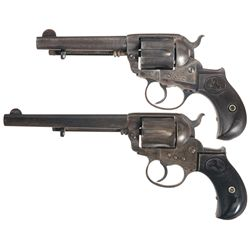 Two Colt Model 1877 Double Action Revolvers -A) Colt Lightning Double Action Revolver