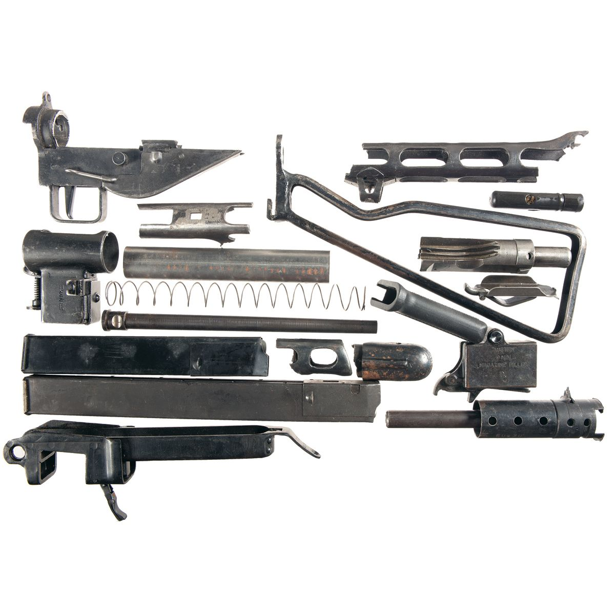 Parts for Two Submachine Gun Parts Sets -A) British Sten MK II with Manual
