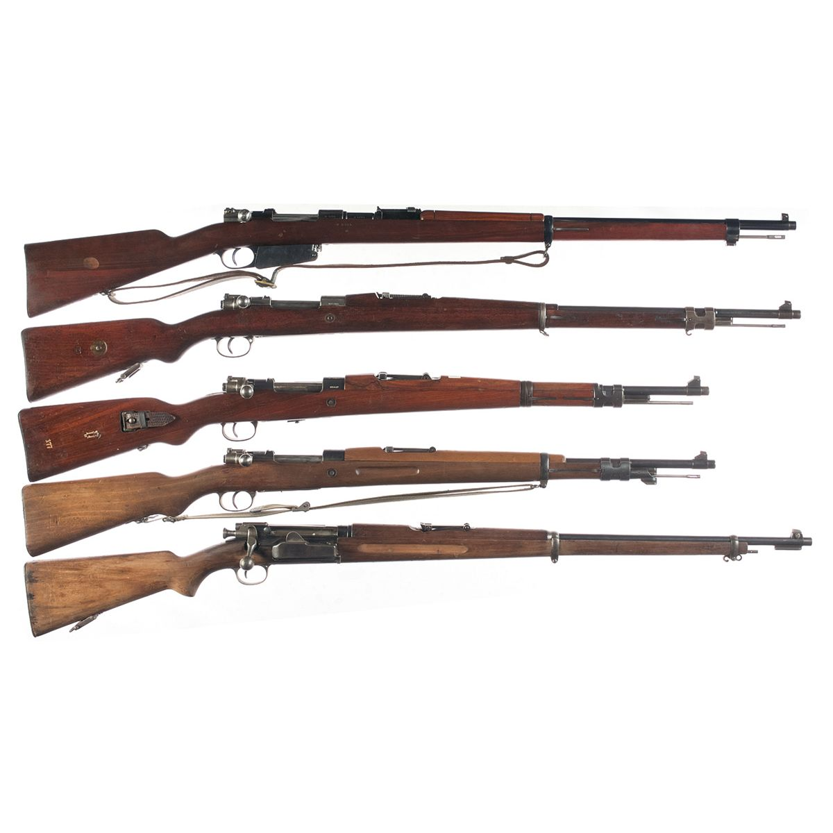 Five Bolt Action Military Rifles -A) Argentine Mauser Model 1891 Bolt  Action Rifle