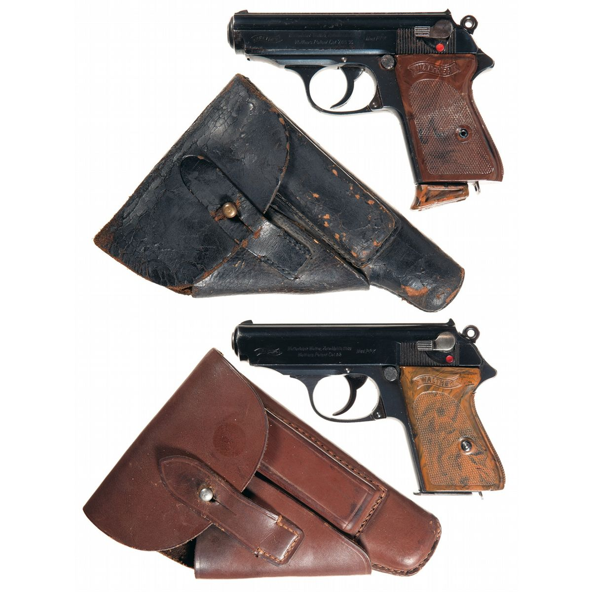 Two Walther PPK Semi-Automatic Pistols with Holsters -A