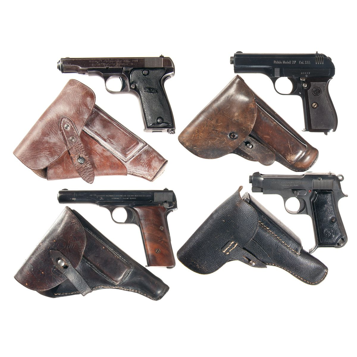 Four European Semi-Automatic Pistols with Holsters -A) Nazi Proofed MAB  Model D Semi-Automatic Pisto