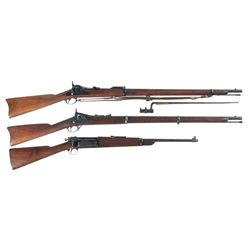 Three Rifles -A) Springfield Armory Model 1873 Trapdoor Single Shot Rifle with Sling, Bayonet