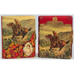 2 Cowboy Celluloid Cover Photo Albums