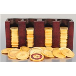 Collection of 100 Antique Ivory Poker Chips