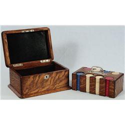 Tiger Oak Poker Chip Box