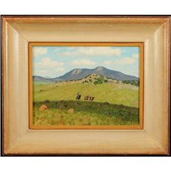 "Fred Darge ""Texas Longhorn"" Oil on Board"