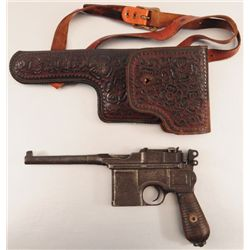 Mauser Pistol & Mexican Tooled Leather Holster