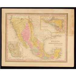 1845 Map of Mexico and Guatemala by H.S. Tanner