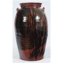 John Leopard Texas Stoneware Jar Red & Ash Glaze