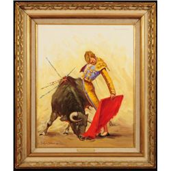 Porfirio Salinas Bullfighter Oil On Canvas
