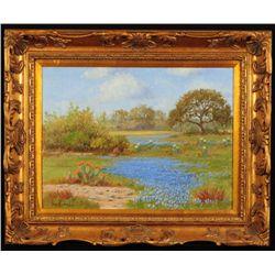 "Hugo Herbeck ""Bluebonnets Bandera TX"" Oil Painting"