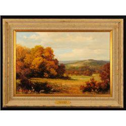 Robert Wood Texas Fall Scene Oil Painting