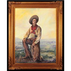 """Robert Harrison """"The Cowboy"""" Oil Painting"""