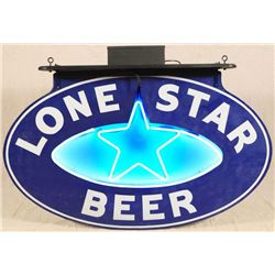 Lone Star Beer Neon Over Porcelain Sign