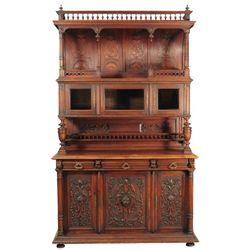 Large Ornately Carved Hunt Cabinet New Orleans