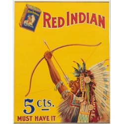 Red Indian Cut Plug Tobacco Advertising Lithograph