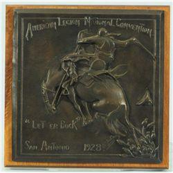 1928 Let'er Buck San Antonio Bronze Plaque