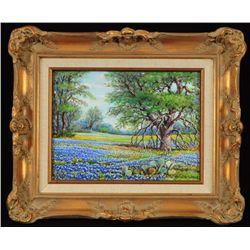 Exa Wall Bluebonnets Oil On Canvas