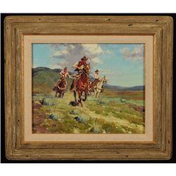 """Jim C. Norton CA """"Fast Horses"""" Oil Painting"""