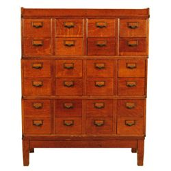 24 Drawer Oak File Card Cabinet
