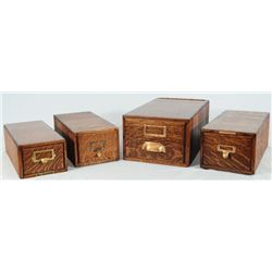 4 Oak File Boxes